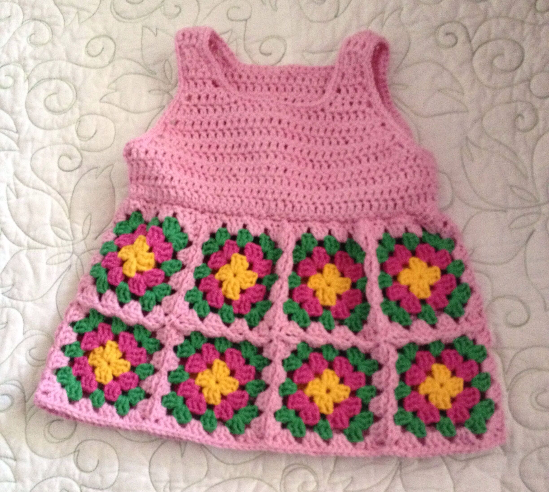 Little Girls Granny Square Over All Dress