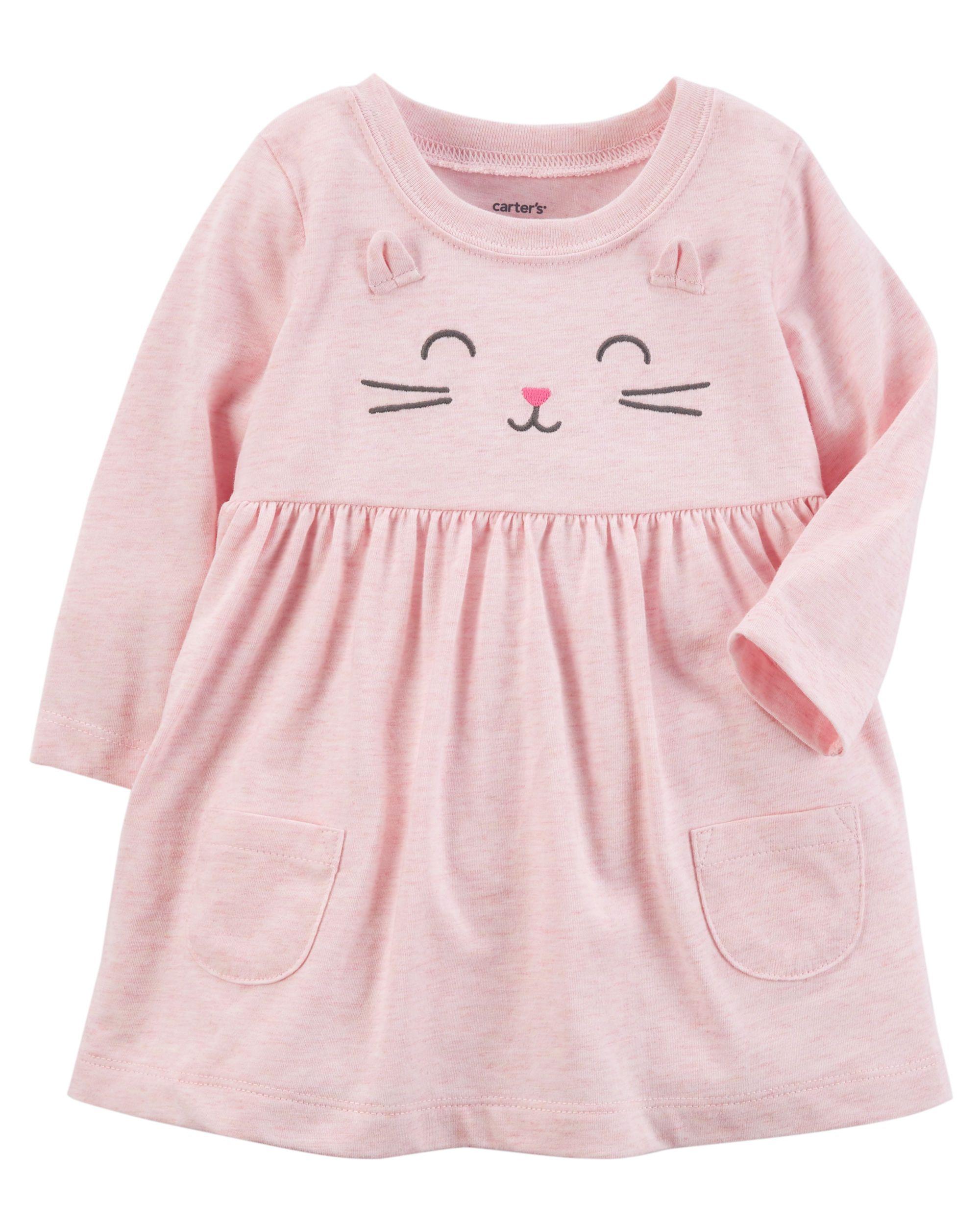 4c2e14379 Baby Girl Heathered Kitty Dress | Carters.com