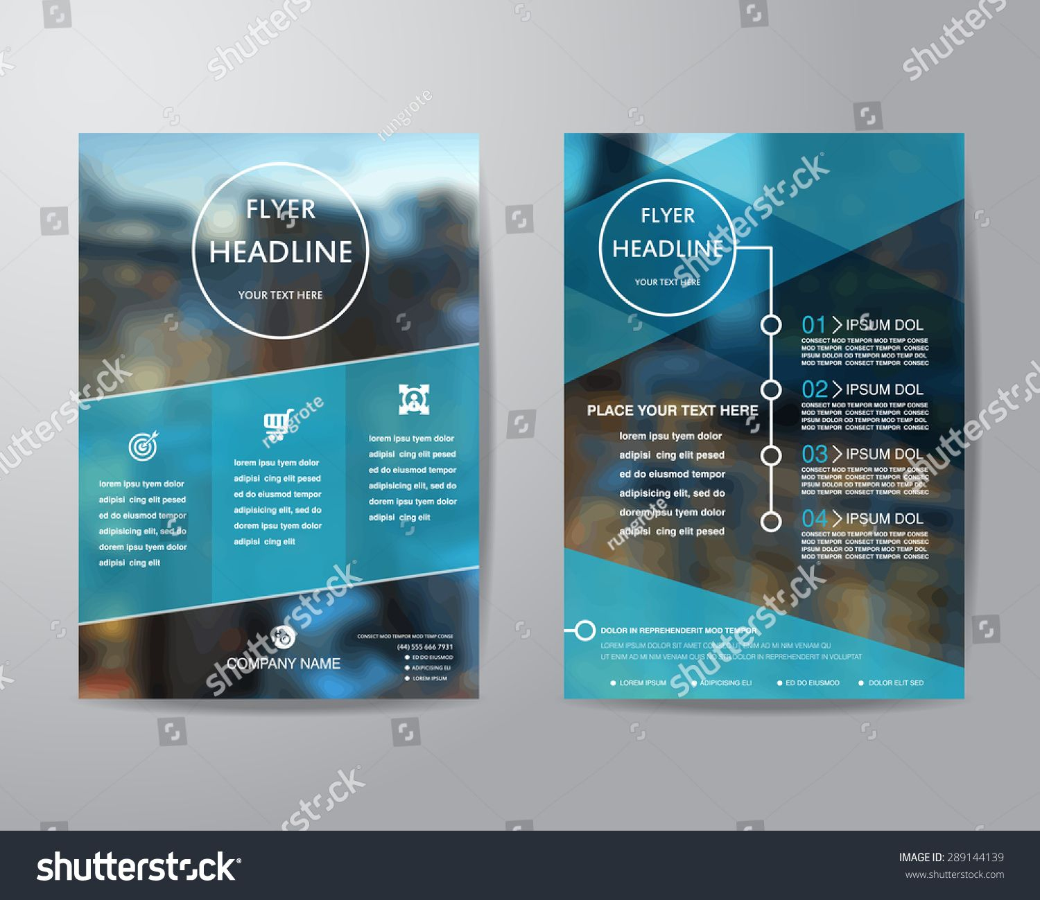 business brochure flyer design layout template in A4 size with blur