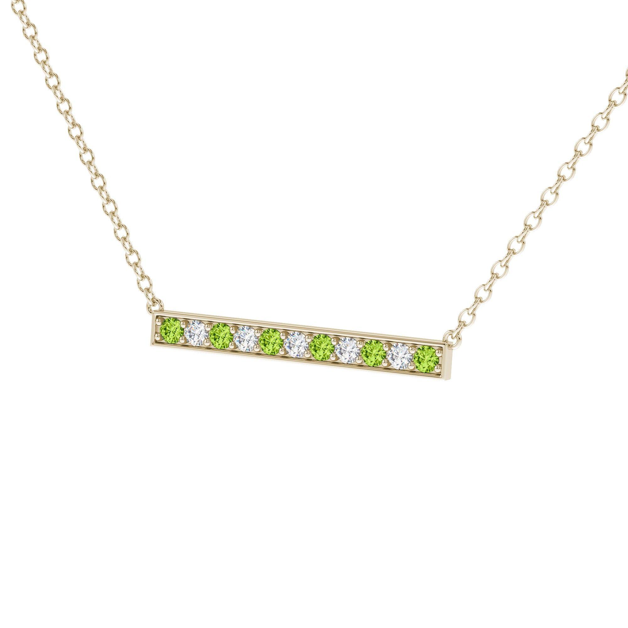 Hava bar diamond and peridot pendant in k yellow gold ctw