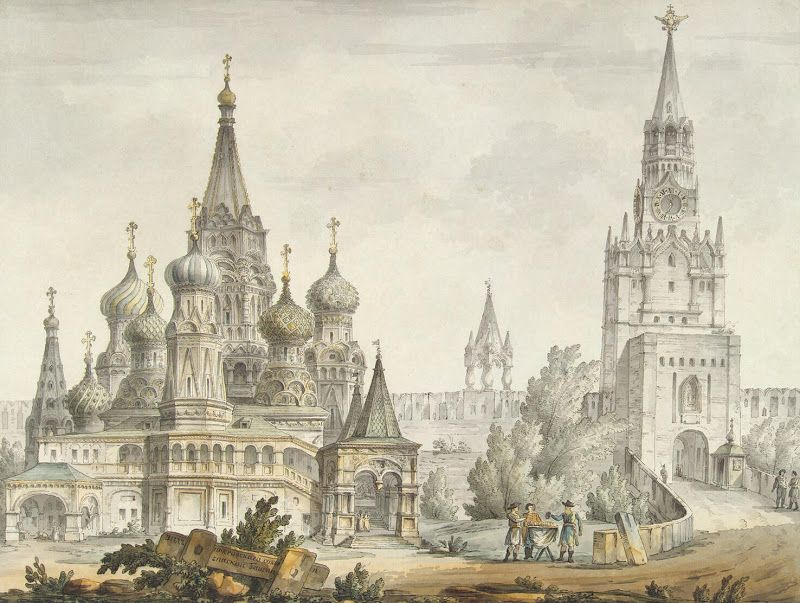 Giacomo Quarenghi, drawings - Pokrovsky Cathedral and the Spasskaya Tower in Moscow