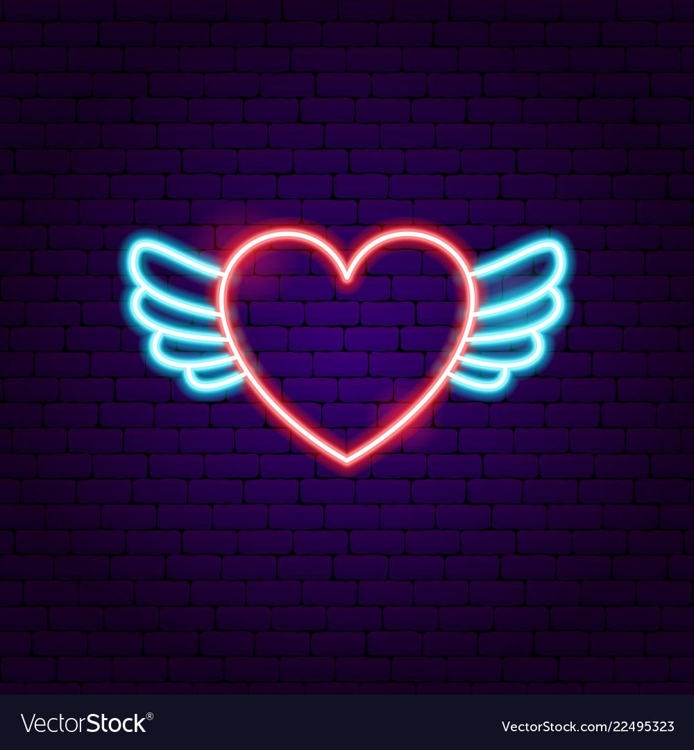 Heart wings neon sign vector image on in 2020 (With images