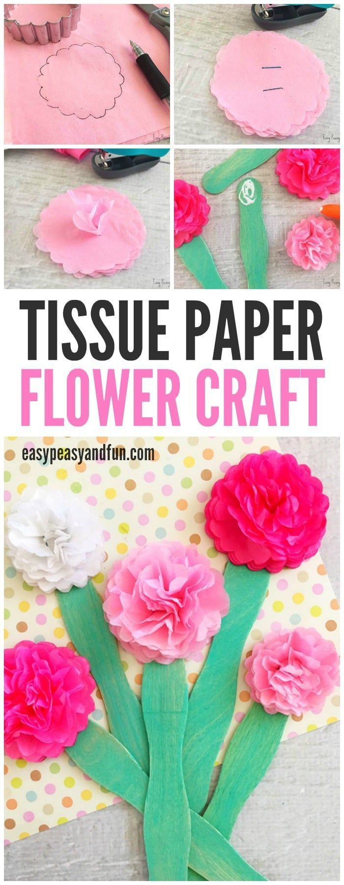 Tissue Paper Flower Craft Crafts Flowers Pinterest Flower