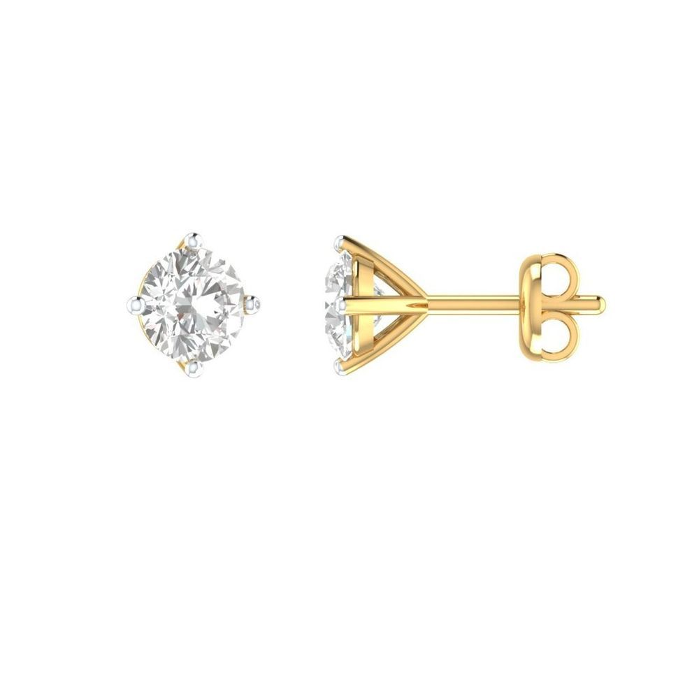 Excellent Cut Stud Earrings Solitaire 0.46 ct Round D/VVS1 Solid 14k Yellow Gold #Customgolddiamondjewelry #Stud