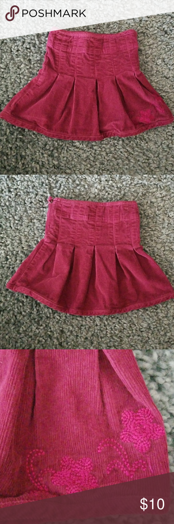 7cf2e0450b Laura Ashley skirt Cute burgundy corduroy pleated skirt with embroidered  flowers. Laura Ashley Bottoms Skirts