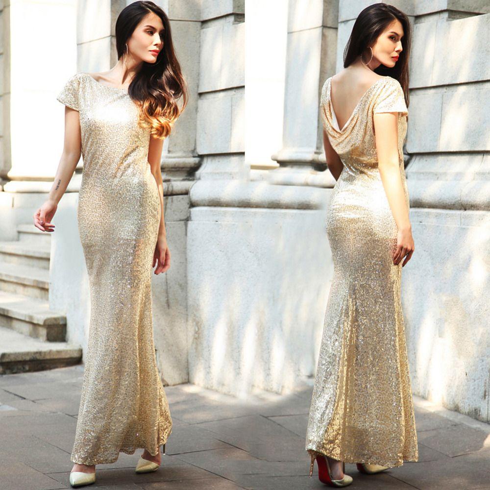 Short Sleeve Sequined Elegant Long Party Dress Fashion ღ Baby