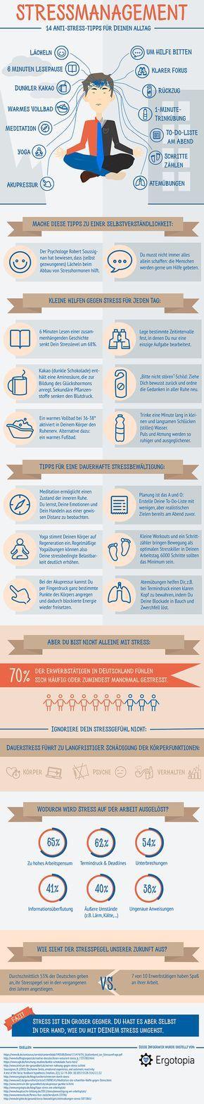 Stressmanagement - Infografik: 14 Anti-Stress-Tipps für ...