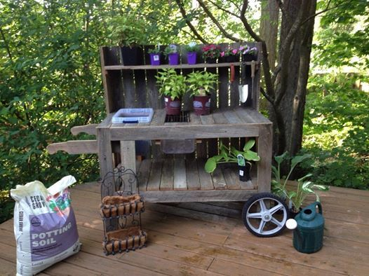 Charming Potting Bench From Old Fence Boards   With Wheels, Soil Container, Grate  And Shelves