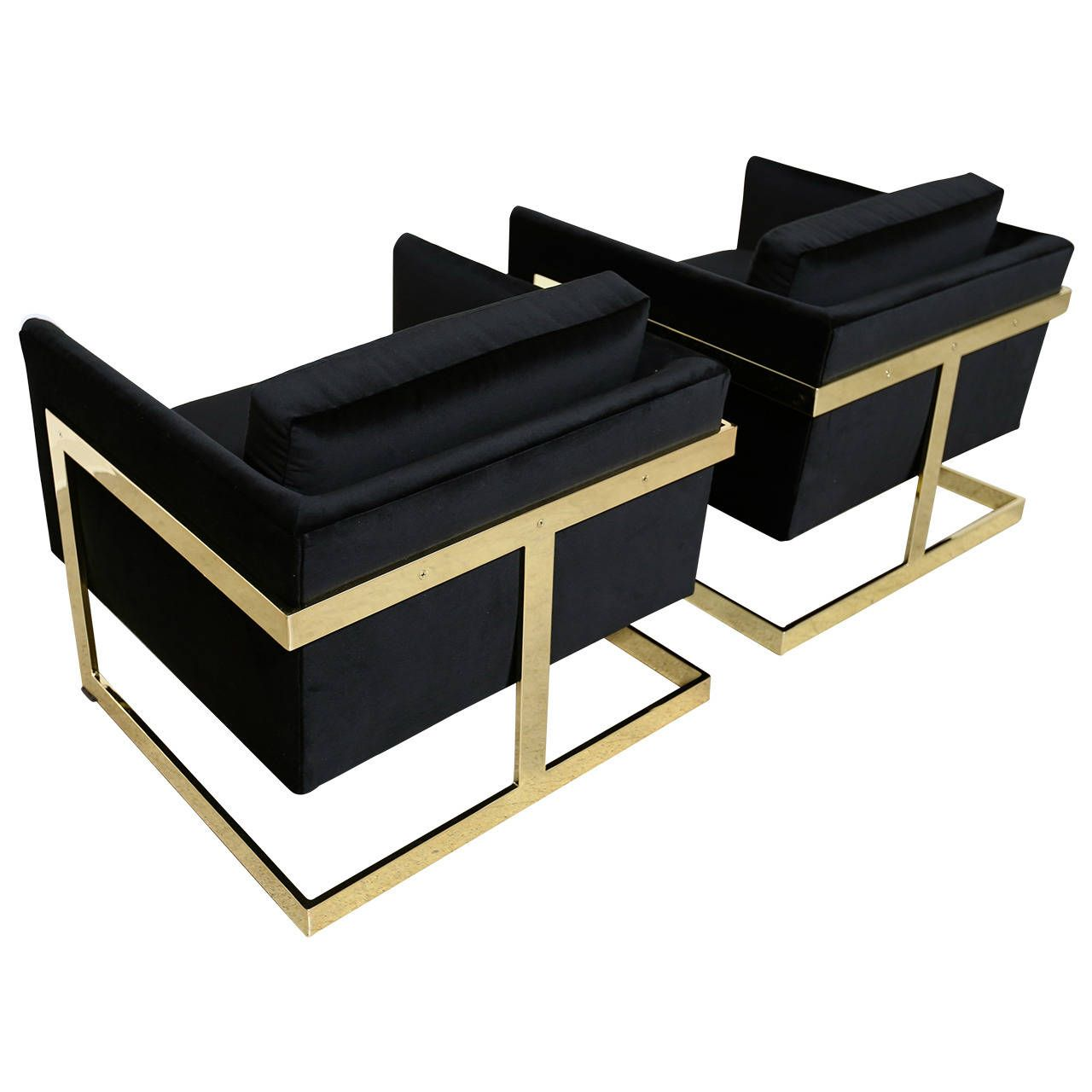 Mirror Polished Brass Cube Chairs by Milo Baughman