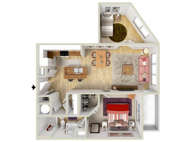 1 Bedroom Medallion Floor Plan 3d Rendering Brand