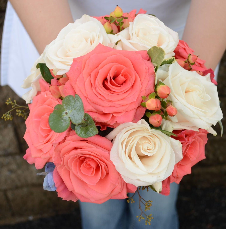 Coral Garden Rose tight round garden bridesmaids bouquet. amsterdam coral roses