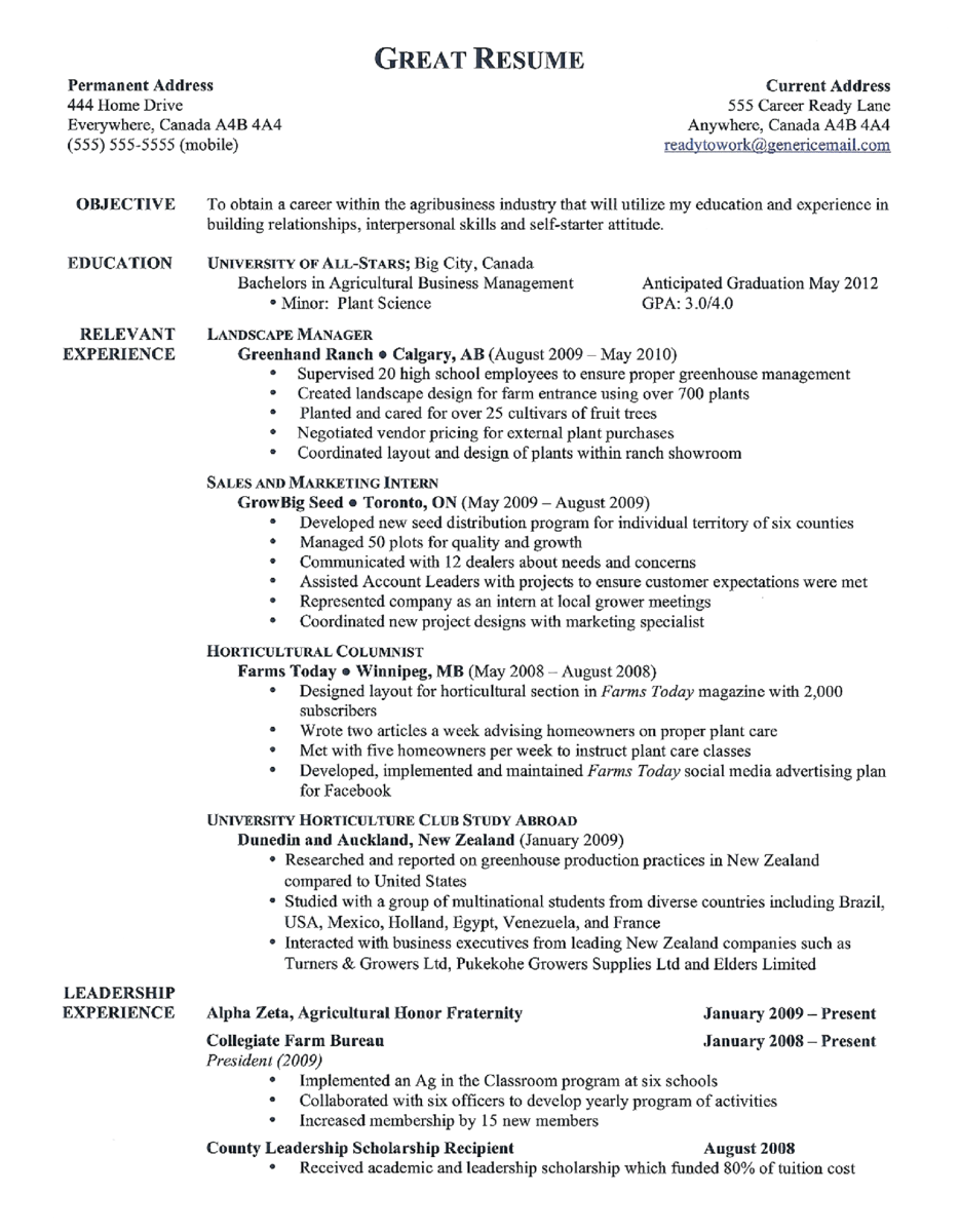 Format for a good resume