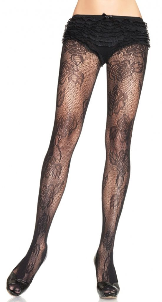 92b86c36eba Black Rose Flower Lace Pantyhose - Stockings and Tights