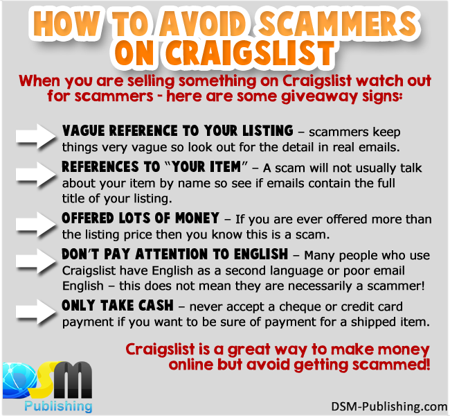 Here Are Some Useful Tips On How To Avoid Scammers On Craigslist Internetmarketing Makemoneyonline Craigslist Marketing Tips Internet Marketing Scammers