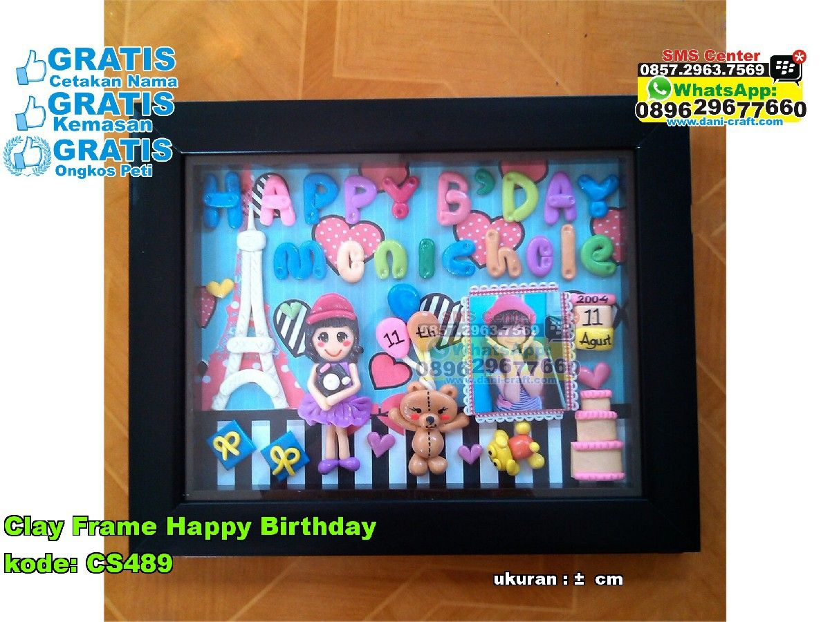 Clay Frame Happy Birthday Souvenir Pernikahan