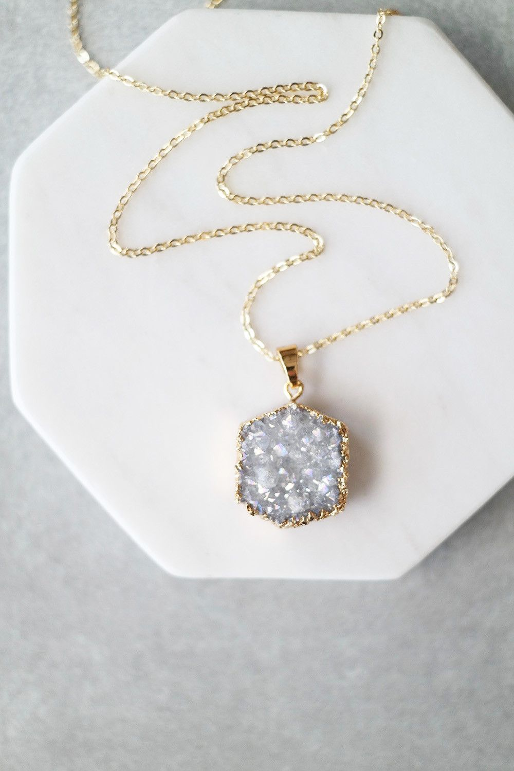 Druzy hex necklace metal chain lobster clasp and closure