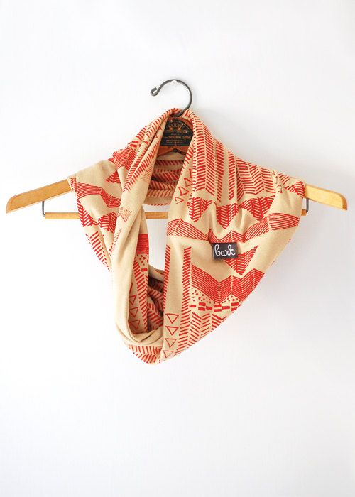 Going Hunting  Red and Camel  modern  jersey hand door barkdecor, $44.00