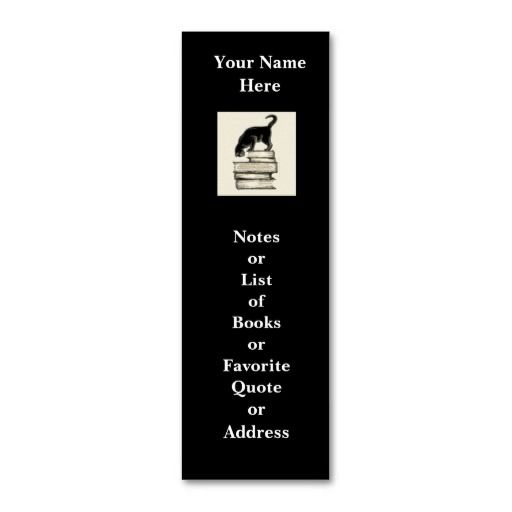 Cat On Books Mini Bookmark To Customize Mini Business Card - Mini business card template