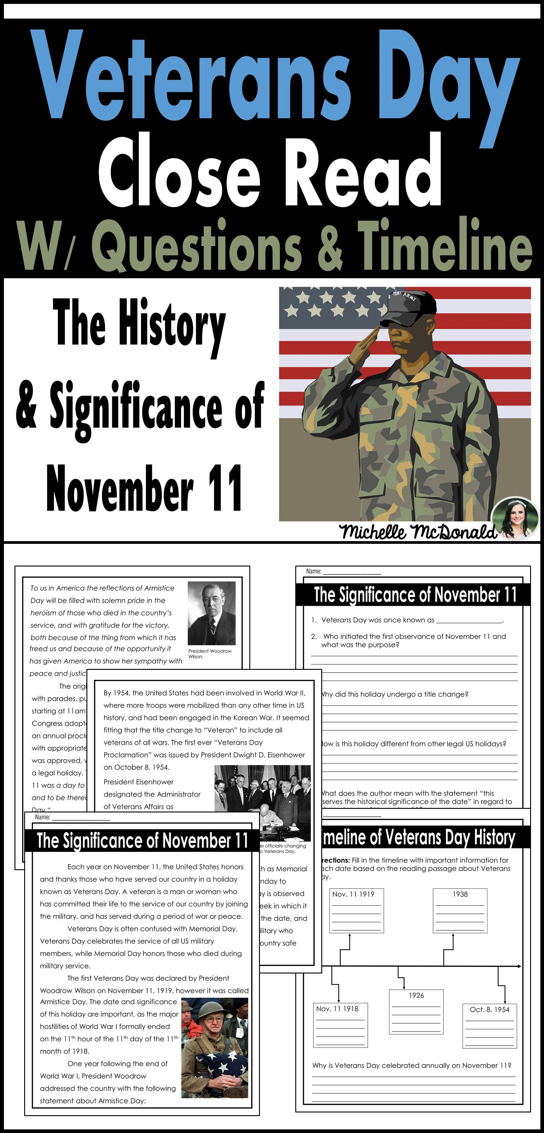 Veterans Day Close Reading Passage With Comprehension