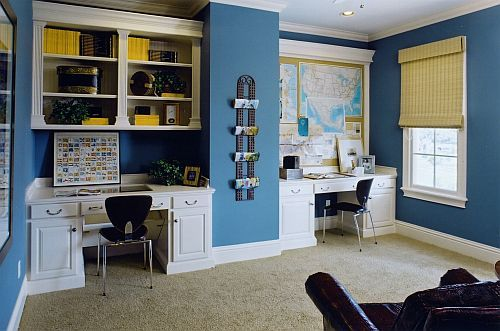 Study Areas Help With Homework Blue Home Offices Home Office Layouts Home Office Design