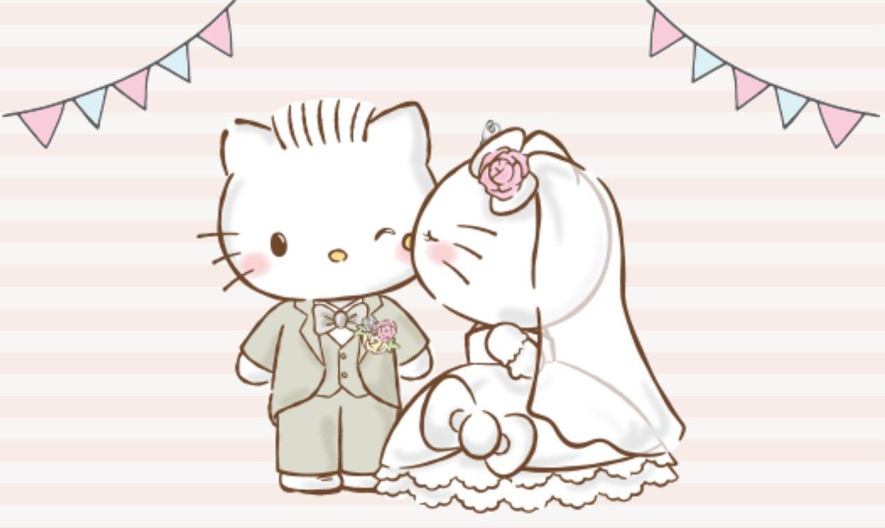 Daniel Et Kitty Hello Kitty Wedding Hello Kitty Wallpaper Hello Kitty Backgrounds