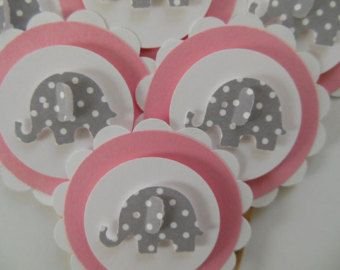 Girl Birthday Parties Girl Baby Showers Elephant Cupcake Toppers Pink and White with Gray Polka Dot Elephants Set of 6