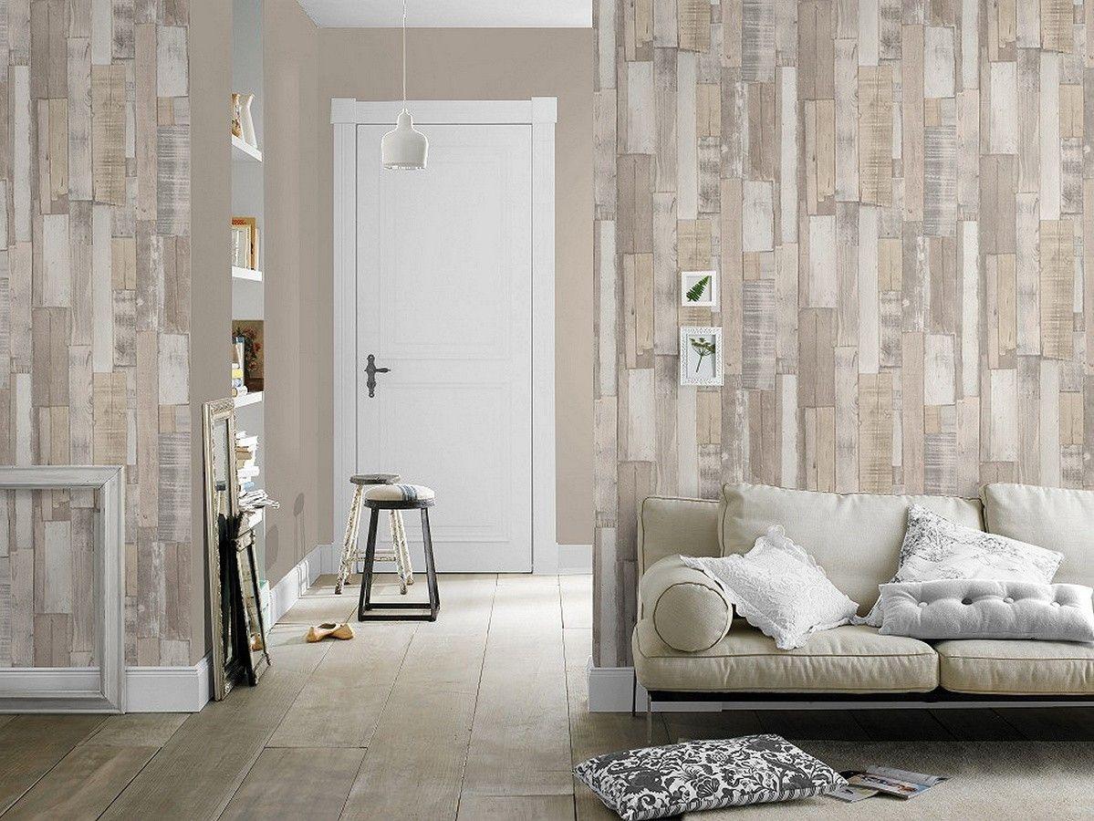 Papel pintado para pared tablas de madera clara y blanca estilo ...