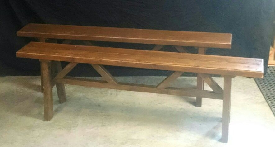 Custom made outdoor benches. Use could be indoors or out. These were finished with exterior finishes they are 5' long
