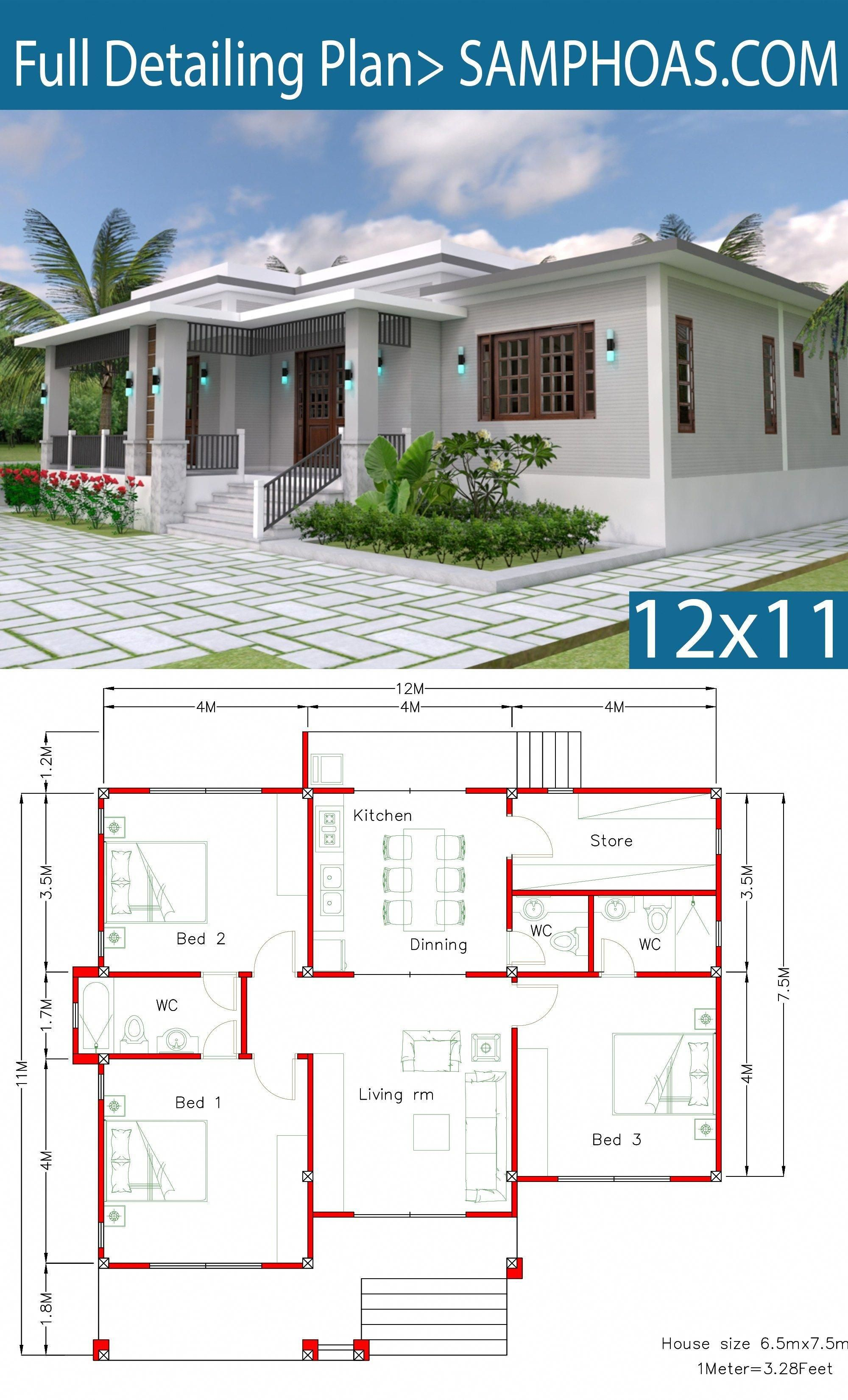 House Design With Full Plan 12x11m 3 Bedrooms Samphoas Plan Modernhomedesigns Bungalow House Design House Design Home Design Floor Plans