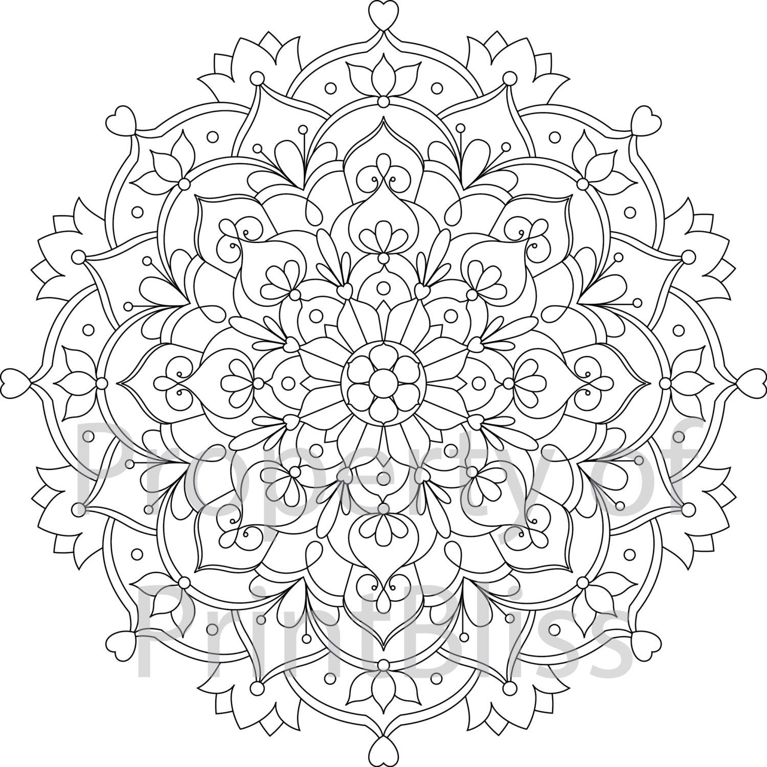 29 flower mandala printable coloring page by printbliss on etsy