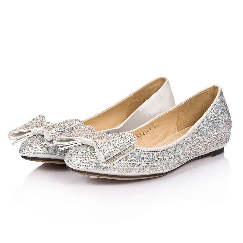 Silver Rhinestones Cute Bows New Ballerina Flats Comfy Bridal Shoes Wedding Fashion Day