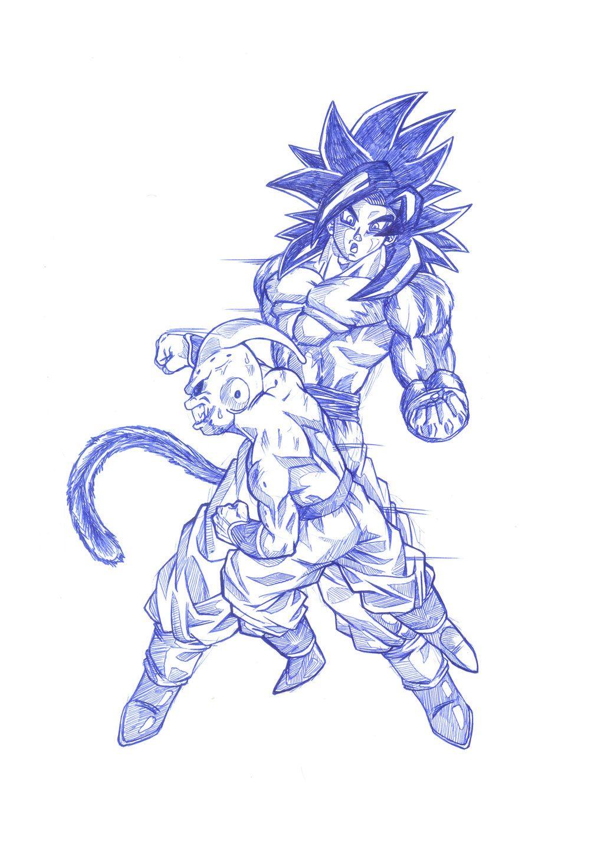 Goku Ssj4 Vs Kid Buu By Bloodsplach Ssj5 Dessin Et Anime