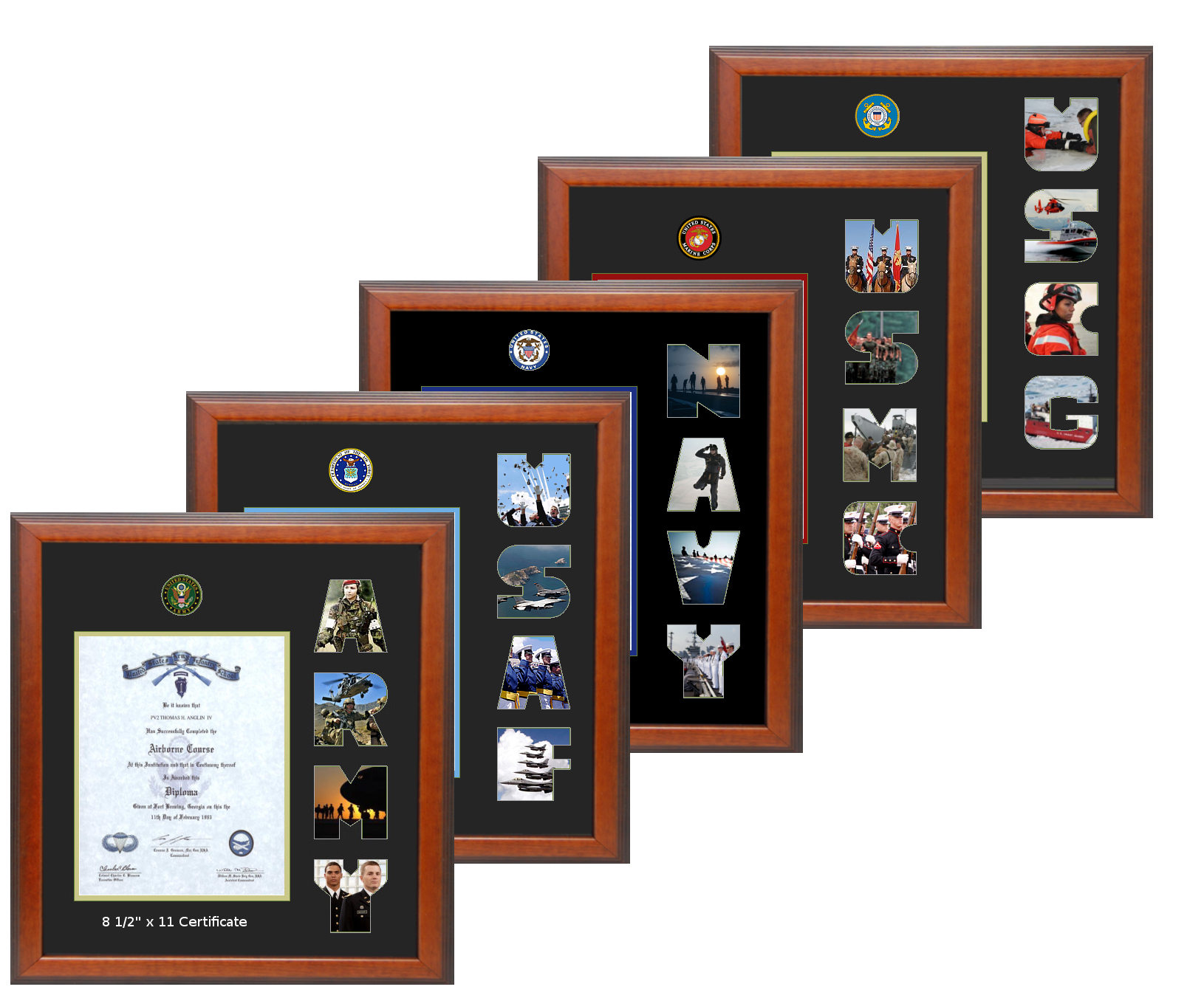 Another Creative Idea For Your Upcoming Holiday Gifts Beautifully Framed With Stepped Cherry Wood Each Holds An 8 Frame Military Pictures Certificate Frames