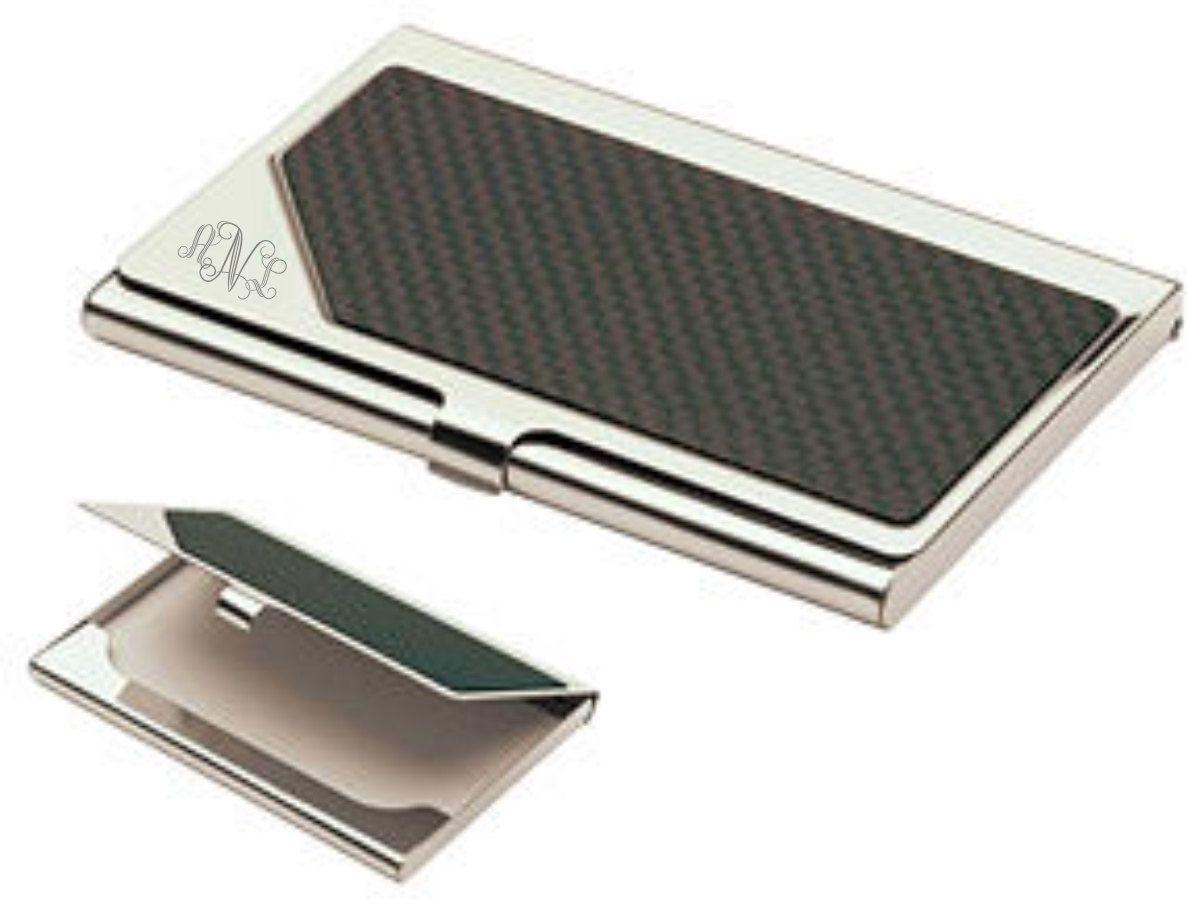 Monogrammed Carbon Fiber Business Card Holder   Business card holders