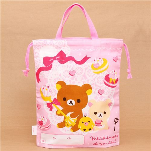 big pink Rilakkuma sweets bento pouch lunch bag