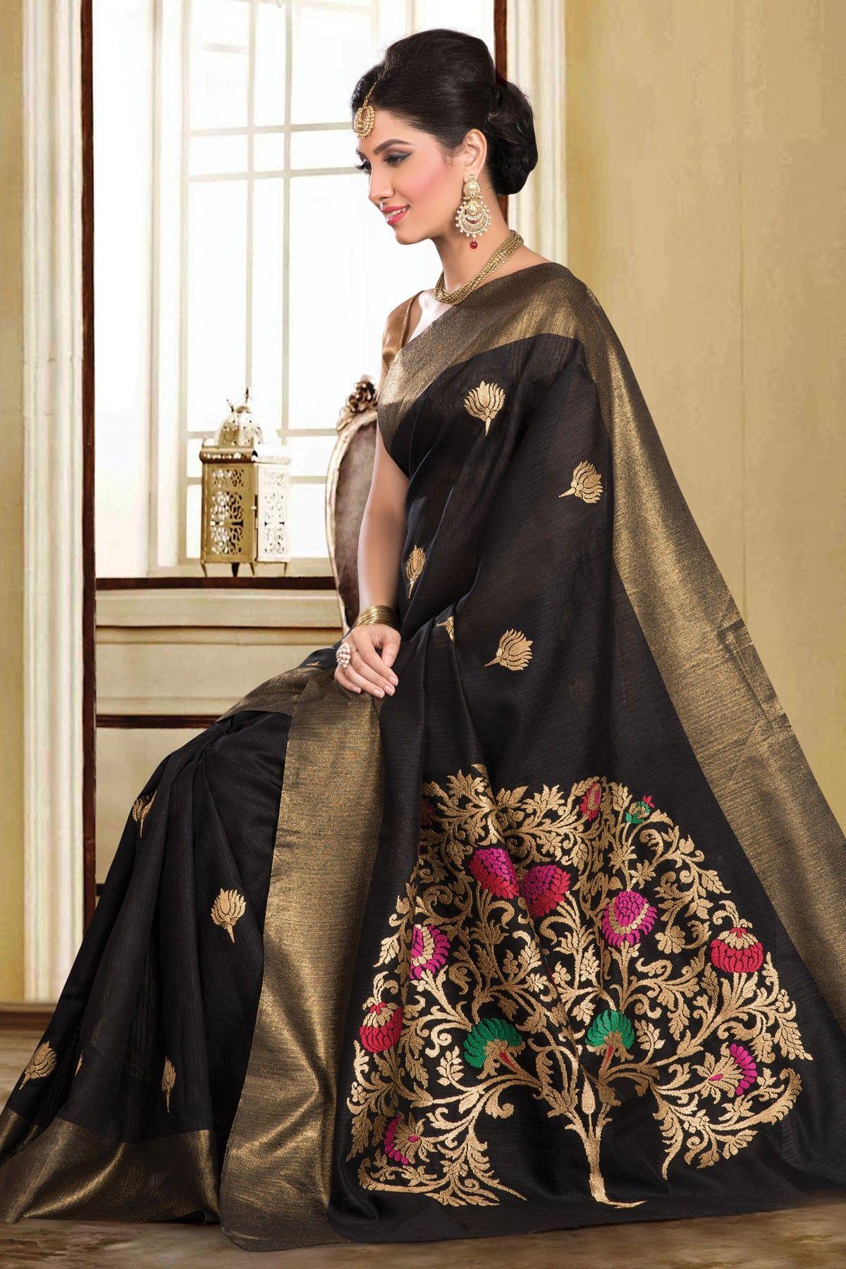 Black colour saree images black u gold colour tussar silk saree with embroidery work buy