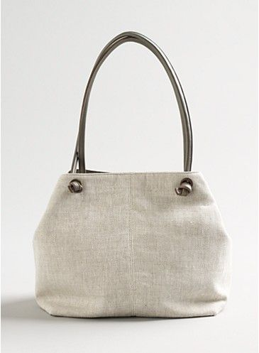 720f9b81ffdc Deep Slouch Bag in Linen Canvas with Leather Trim at Eileen Fisher ...
