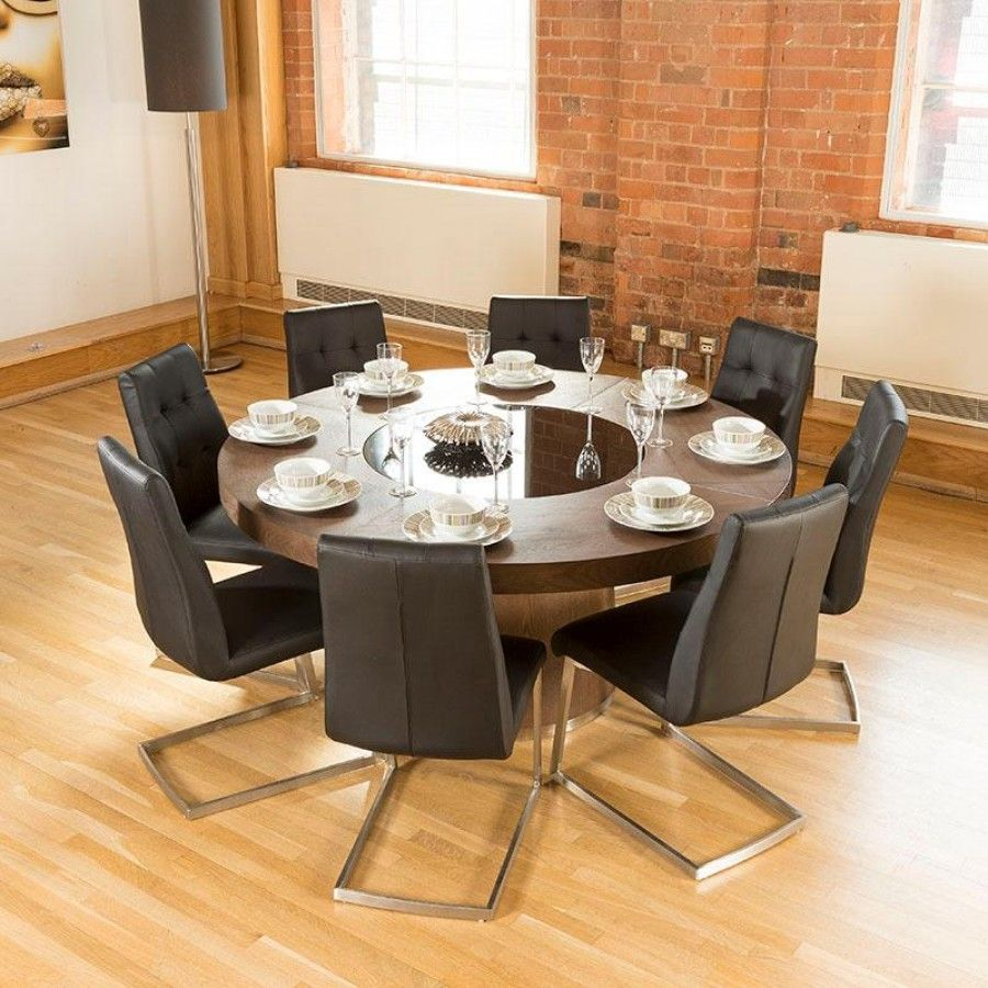 Luxury Large Round Elm Dining Table Lazy Susan 8 Chairs 4163