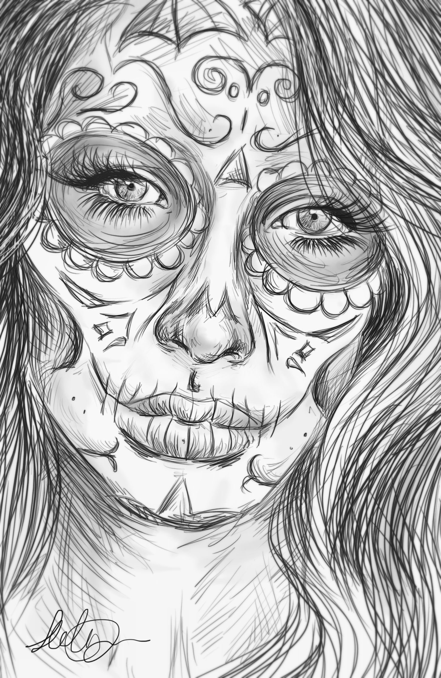 Realistic Sugar Skull Drawing Images Pictures Sugar Skull Drawing Skull Drawing Angel Coloring Pages