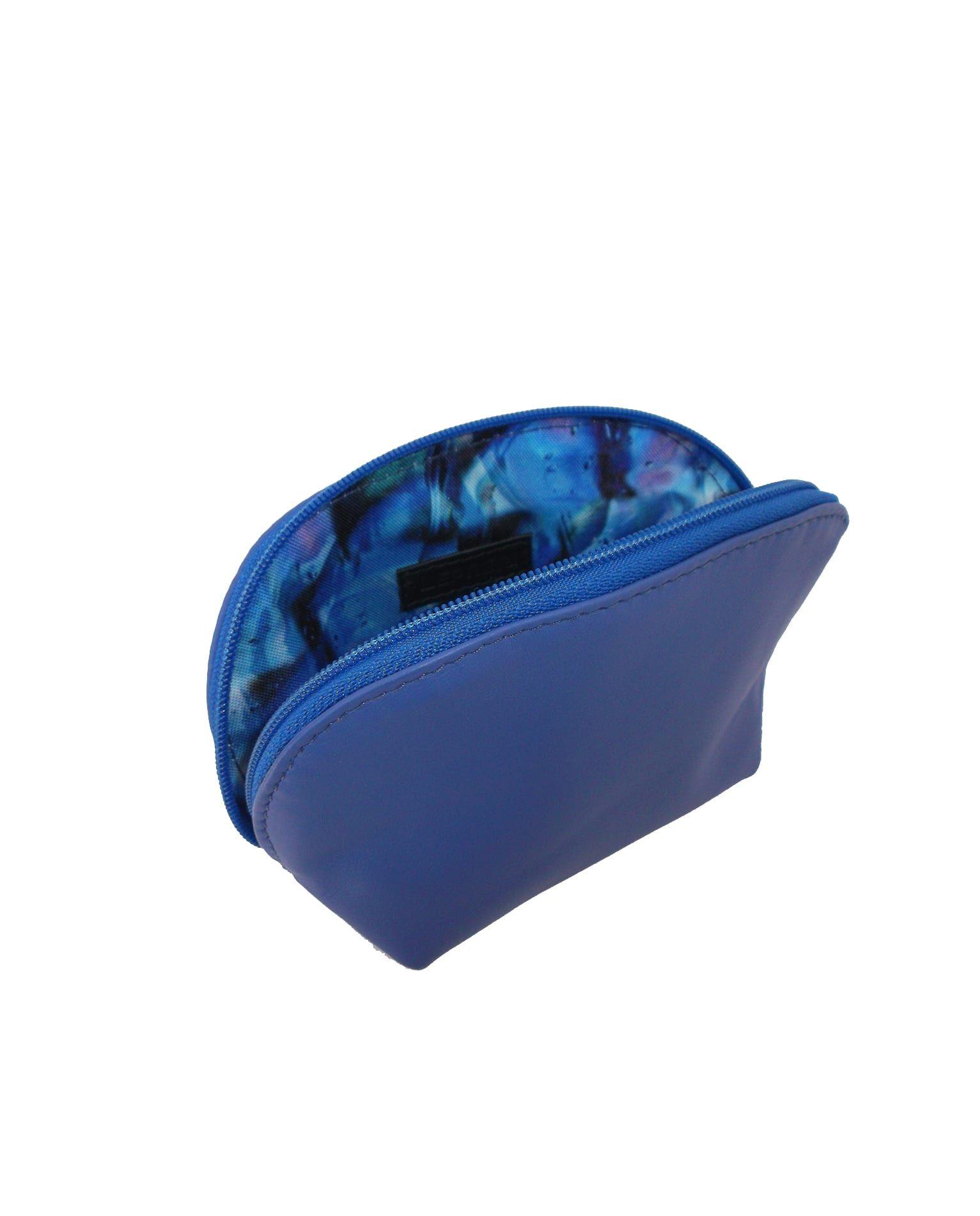 Necessaire azul de couro pequena - LEPRERI - leather