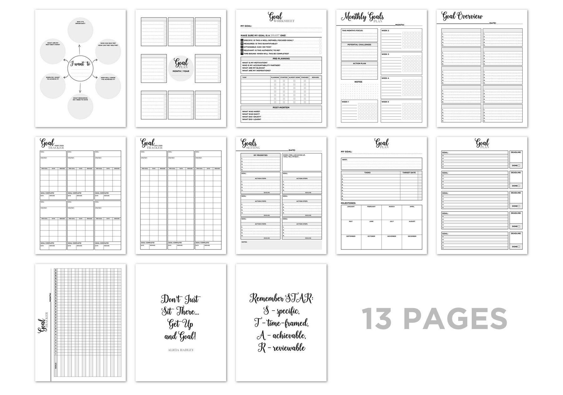 Goal Planner Printable Goal Setting Planner Goal Planner