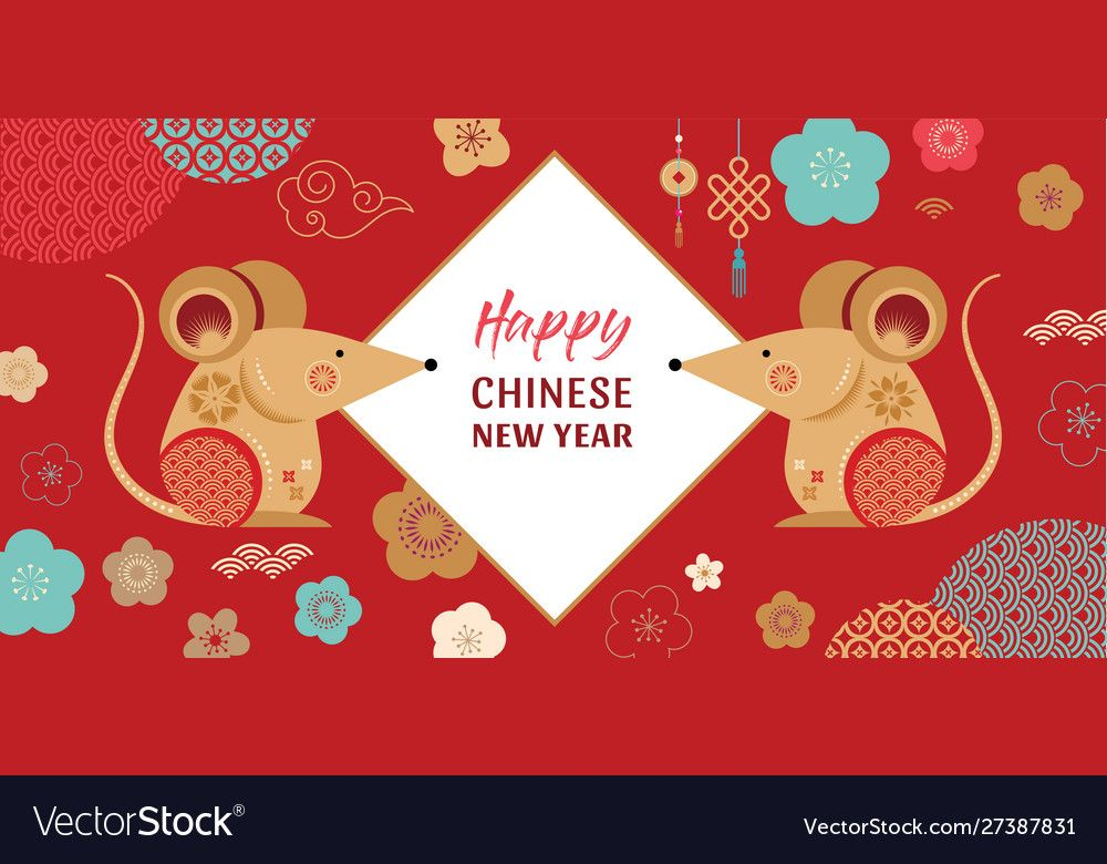 Happy chinese new year design 2020 rat zodiac vector image on