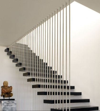 Best Silver And Black Stair Case Stair Railing Design Modern 400 x 300