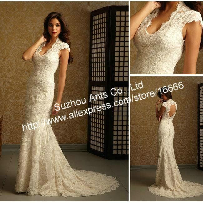 Gorgeous Elegant Style Lace Cap Sleeves Mermaid Lace Backless Sheath Wedding Dress Fitted Wedding Gown Mermaid Wedding Dress With Sleeves Wedding Dresses Lace