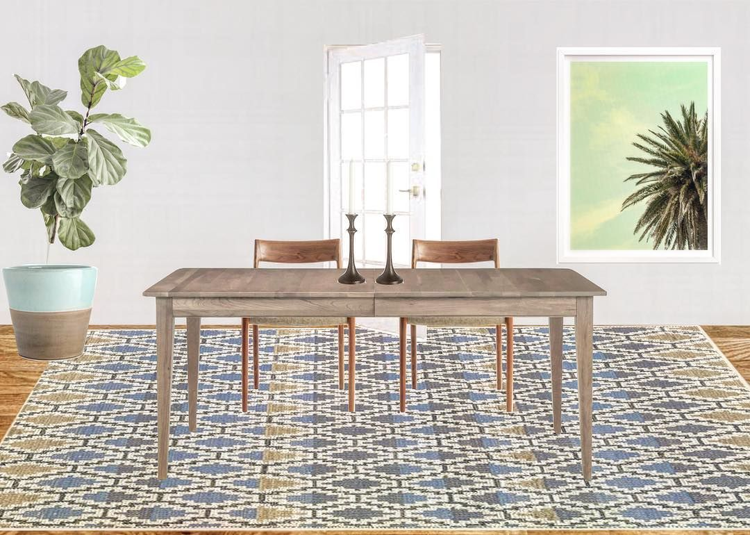 beachy dining room :: jute rug :: palm art :: fiddle leaf fig tree ...