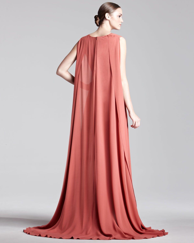 Elie Saab Cape-Back Georgette Gown | Elie Saab 00 | Pinterest