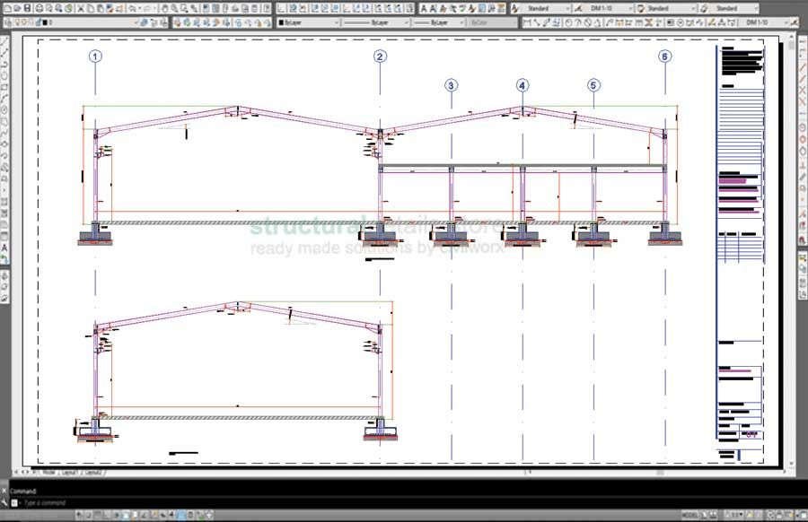 Steel frame hangar complete design drawings cad dwg dxf for Complete set of architectural drawings pdf