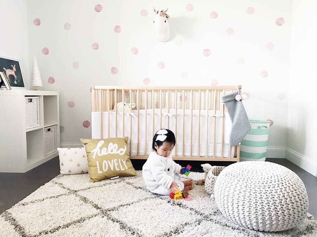 Wallpaper And Decals A Nursery Trend We Love Polka Dot Walls