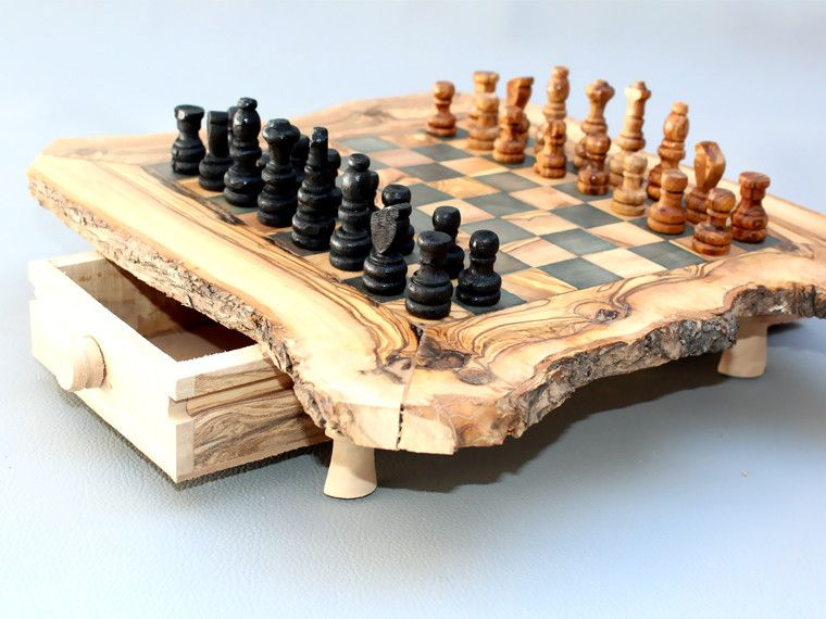 Engraved Olive Wood Rustic Chess Set Custom Natural Edge Personalized Chess Board Small Size Dad Gift Birthday Gift Chess Board Chess Set Wood Chess Board