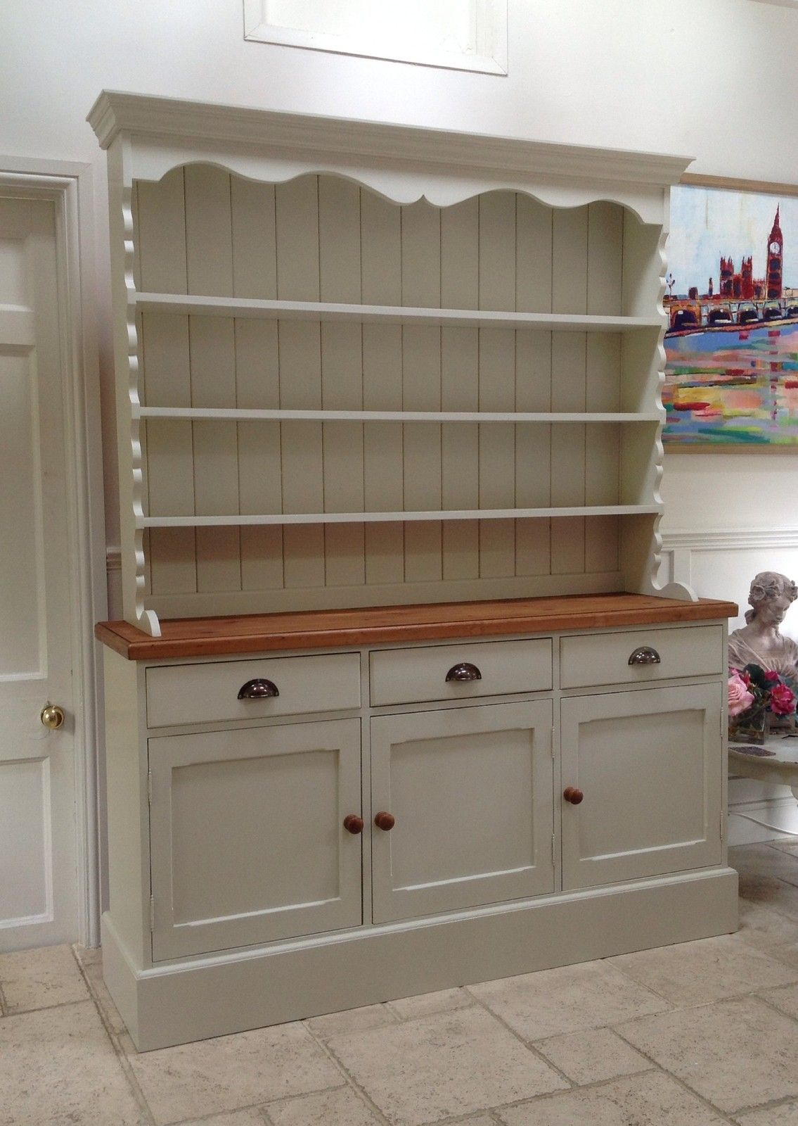 Hand Painted Dresser Cream Solid Pine Welsh Sideboard Kitchen Unit Ebay